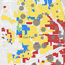 Image: Chicago map from Effect of Redlining on Covid-19 Spread, by Alan Zheng, Zade Akras, Fiker Mekonnen, December 2020.